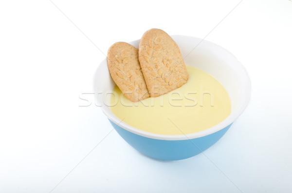 Wanilia pudding domowej roboty proste deser Zdjęcia stock © Peteer