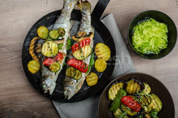 гриль форель Средиземное море овощей свежие рыбы Сток-фото © Peteer