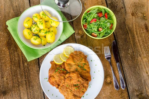 Patatas cebolla limón cocina pollo cena Foto stock © Peteer