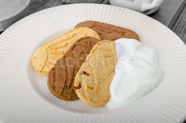 Breakfast home made grain crackers and tea Stock photo © Peteer