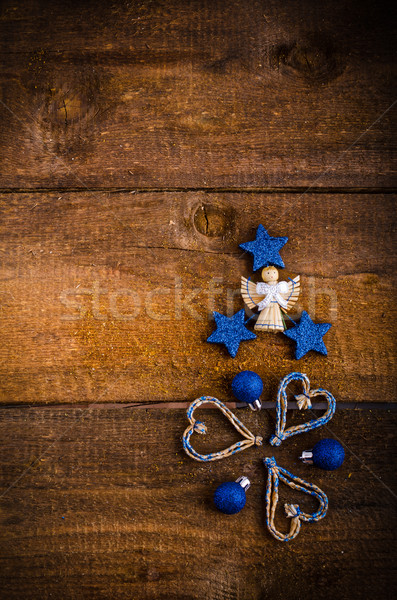 Рождества украшения дерево древесины двери Сток-фото © Peteer