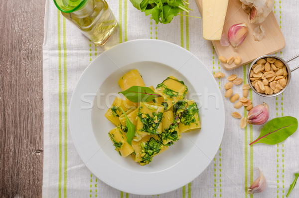 Rigatoni with garlic and herbs pesto Stock photo © Peteer