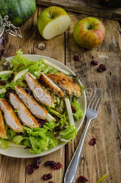 Stockfoto: Salade · gegrilde · kip · eenvoudige · heerlijk · noten · appels