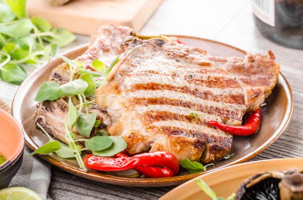 Photo stock: Grillés · porc · risotto · rustique · restaurant · table