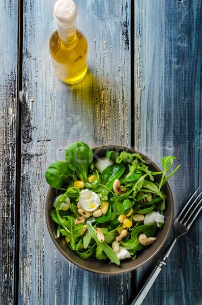 Bárány saláta saláta pörkölt diók mozzarella Stock fotó © Peteer