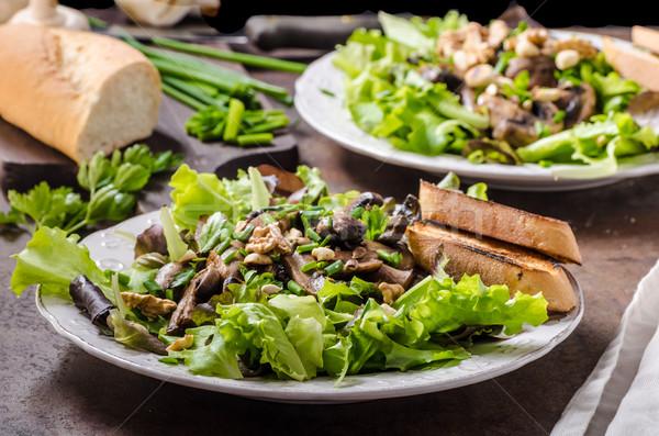 Mushroom salad with walnuts Stock photo © Peteer