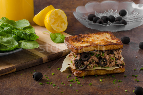 French toast with tuna and olives Stock photo © Peteer