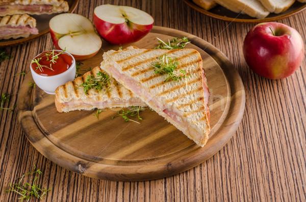 Zdjęcia stock: Panini · ser · szynka · toast · świeże · jabłko