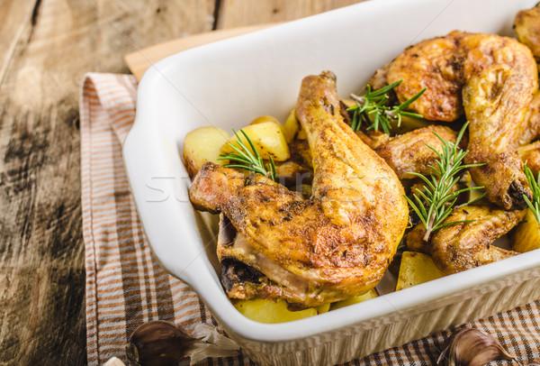Festive slowly roasted chicken Stock photo © Peteer