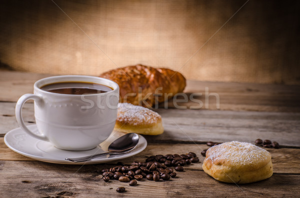 Fresh coffee with croissant Stock photo © Peteer