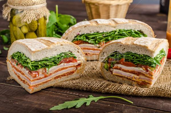 Italiano sándwich completo sabroso jamón queso Foto stock © Peteer