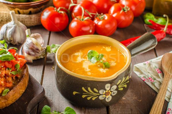 Kremowy zupa pomidorowa czosnku pomidory liści Zdjęcia stock © Peteer