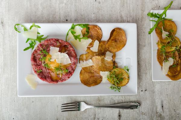 говядины картофельные чипсы домашний пармезан хлеб обеда Сток-фото © Peteer
