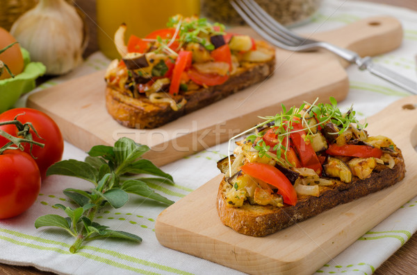 Stock photo: Eat clean - vegetarian toast with vegetable