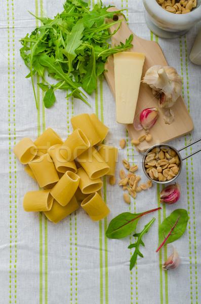 Aglio erbe pesto fatto in casa alimentare foglia Foto d'archivio © Peteer