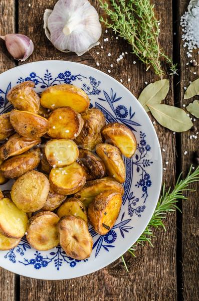 картофель травы чеснока печи таблице Сток-фото © Peteer