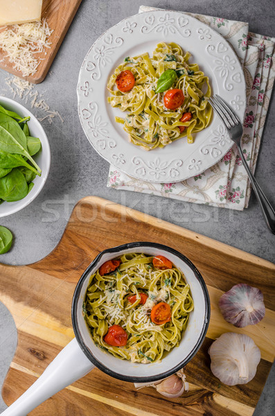 Finom tészta márványsajt zöldség friss parmezán Stock fotó © Peteer