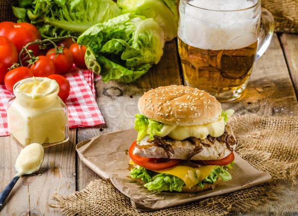 Chicken burger, cold beer Stock photo © Peteer