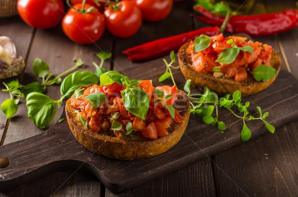 İtalyan bruschetta domates sarımsak otlar Stok fotoğraf © Peteer