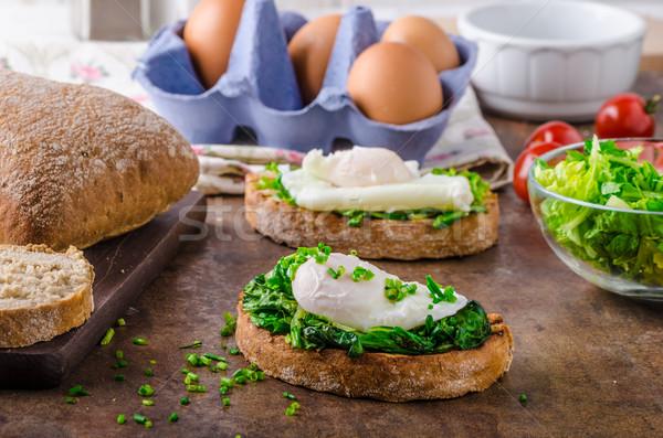 ストックフォト: パン · ほうれん草 · 素朴な · 卵 · ニンニク