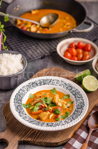 Delicious chicken curry with vegetable Stock photo © Peteer