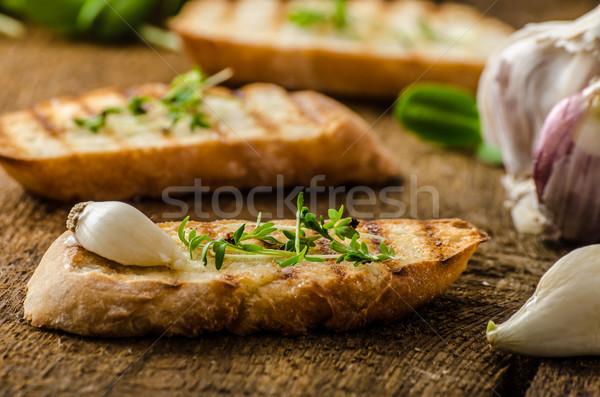 Sarımsak tost tost panini organik Stok fotoğraf © Peteer