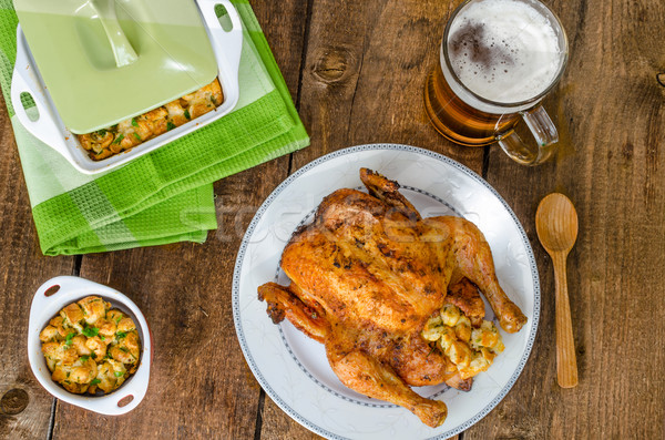 Grilled chicken stuffed with czech beer Stock photo © Peteer