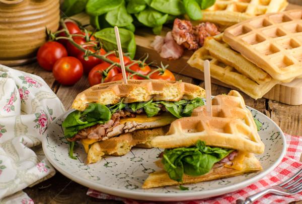 Сток-фото: сэндвич · бекон · куриные · свежие · Салат · продовольствие