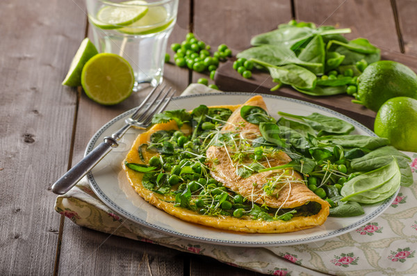 Egg omelette with herbs Stock photo © Peteer