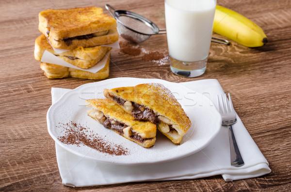 Frans toast gevuld chocolade banaan verse melk Stockfoto © Peteer