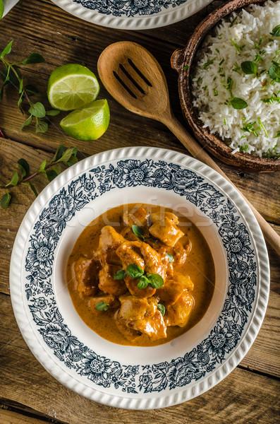 Caril frango arroz basmati delicioso picante Foto stock © Peteer