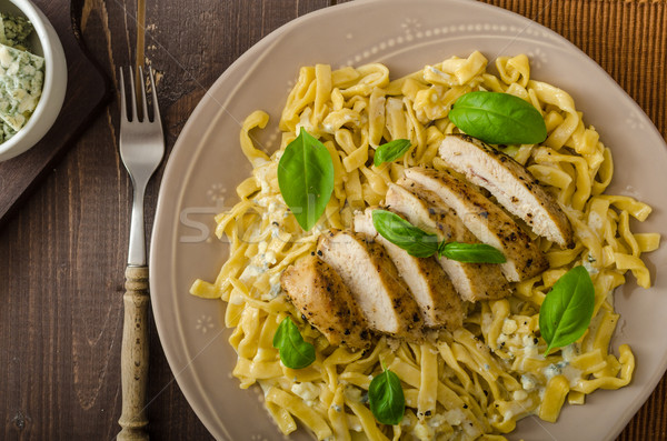 Pasta with cheese and chicken Stock photo © Peteer