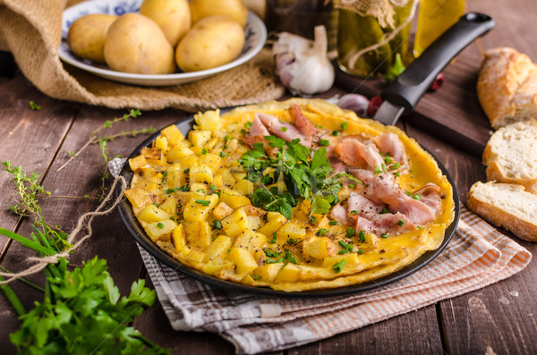 Frittata with herbs and ham Stock photo © Peteer
