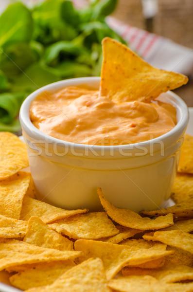 Tortilla chips queso salsa barbacoa checo Foto stock © Peteer
