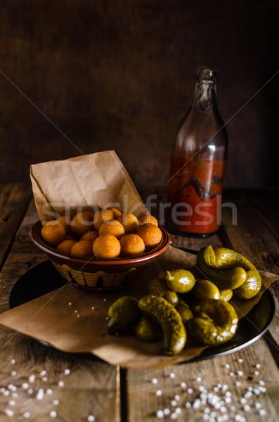 Ketchup házi készítésű savanyúság összes fa háttér Stock fotó © Peteer