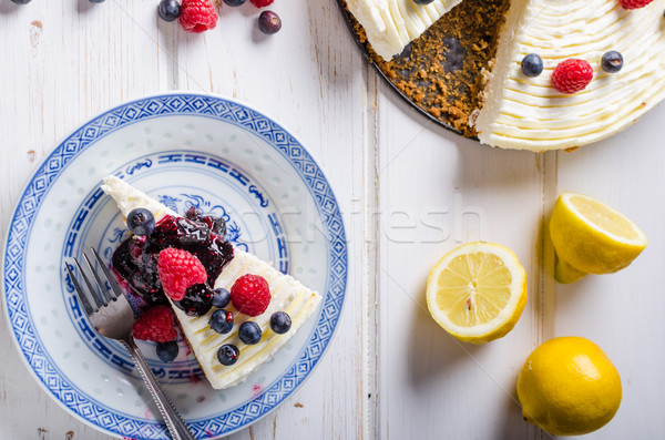 Сток-фото: лимона · чизкейк · Ягоды · свежие · плодов · темно