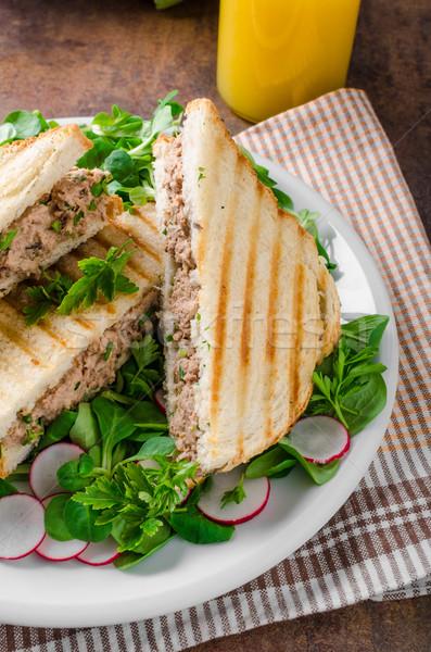 Salada de atum alface peixe jantar prato Foto stock © Peteer