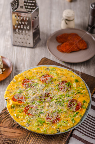 Salami blue cheese omelette Stock photo © Peteer