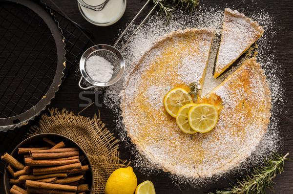 Tarta delicioso postre lugar texto alimentos Foto stock © Peteer