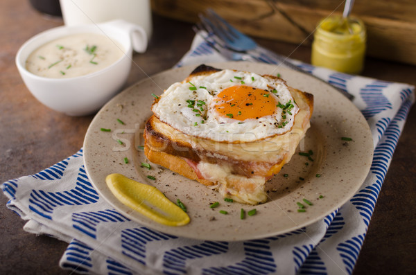 Croque madame sandwich, delish food Stock photo © Peteer