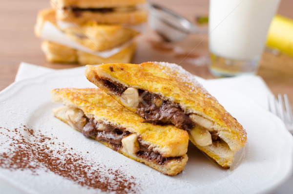 Stock photo: French toast stuffed with chocolate and banana