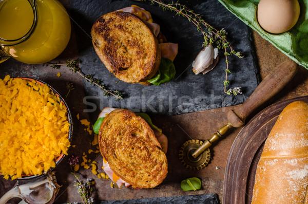 Stok fotoğraf: Fransız · tost · jambon · peynir · içinde