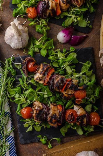 Stock fotó: Grillezett · hús · nyárs · szalonna · ropogós · zöldségek · étel