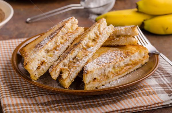 Burro di arachidi banana sandwich pasto colazione Foto d'archivio © Peteer