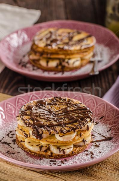 Chocolade banaan pannenkoeken voedsel fotografie groot Stockfoto © Peteer