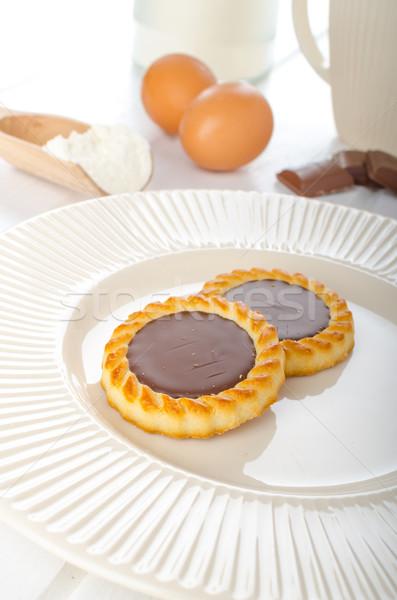 Caseiro chocolate biscoito ovos manteiga fundo Foto stock © Peteer