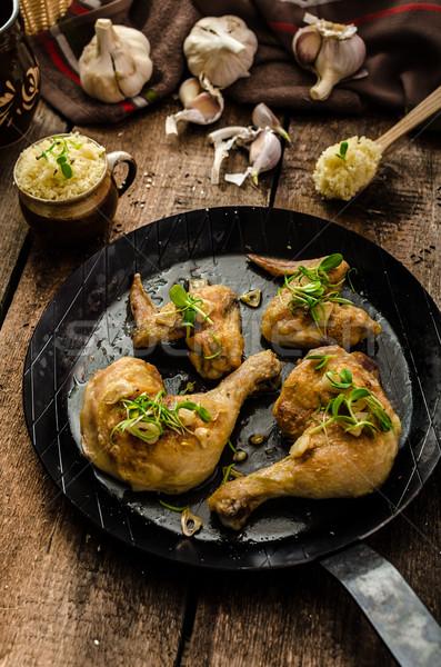 Bio sült csirke gyógynövények fokhagyma kuszkusz organikus Stock fotó © Peteer