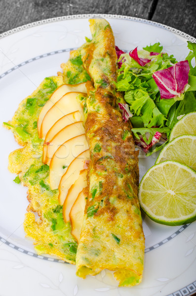 Vegetarian scallion omelette Stock photo © Peteer