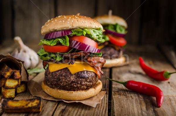 Beef burger rustic style Stock photo © Peteer