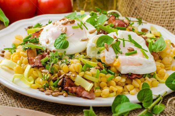 Tavasz saláta lencse tojás friss gyógynövények Stock fotó © Peteer